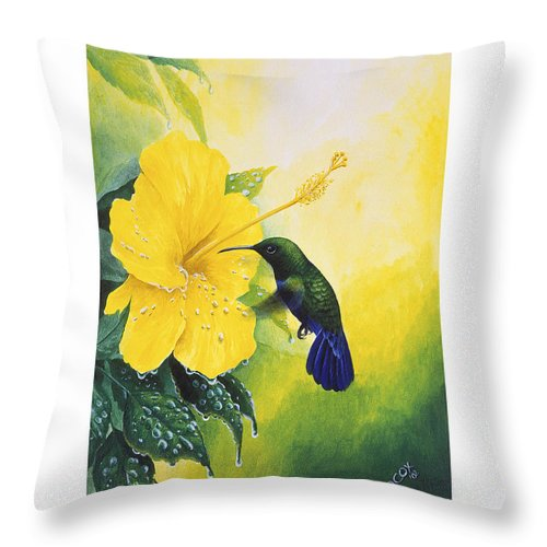 Chris Cox Throw Pillow featuring the painting Green-throated Carib Hummingbird and yellow hibiscus by Christopher Cox