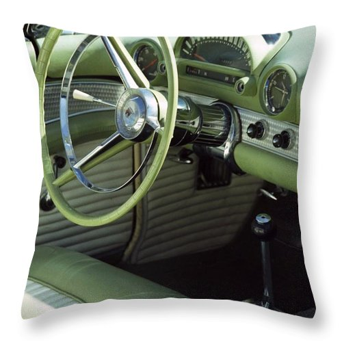 Photography Throw Pillow featuring the photograph Green Thunderbird Wheel And Front Seat by Heather Kirk