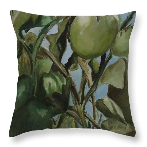 Green Tomatoes On The Vine. Decorative Throw Pillow featuring the painting Green Tomatoes On The Vine by Charme Curtin