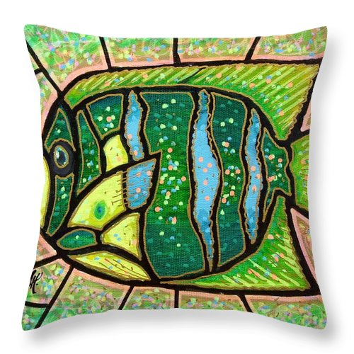 Fish Throw Pillow featuring the painting Green Tropical Fish by Jim Harris