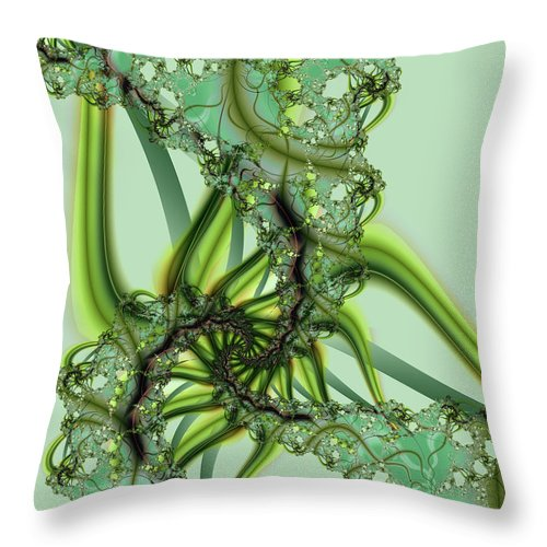 Fractal Throw Pillow featuring the digital art Green Vines by Frederic Durville