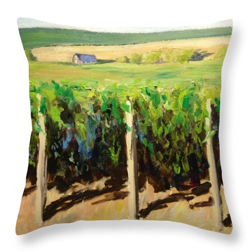 Green Vineyards Throw Pillow featuring the painting Green Vineyards Of Napa by Wyn Ericson