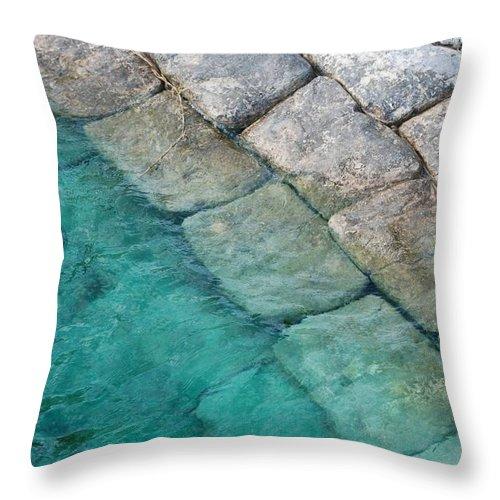 Water Blocks Bricks Throw Pillow featuring the photograph Green Water Blocks by Rob Hans