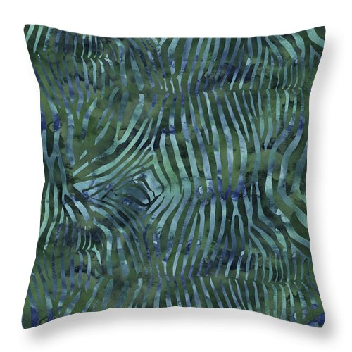 Painting Throw Pillow featuring the painting Green Zebra Print by Aloke Creative Store