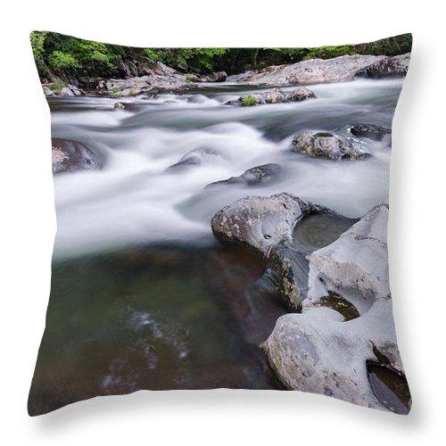 Gatlinburg Throw Pillow featuring the photograph Greenbrier Water Cascade by Richard Sandford