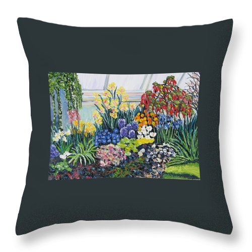 Flowers Throw Pillow featuring the painting Greenhouse Flowers With Blue And Red by Richard Nowak