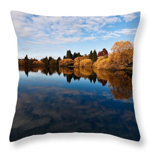 Greenlake Throw Pillow featuring the photograph Greenlake Fall Reflections by Mike Reid
