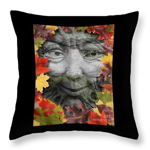 Digital Art Throw Pillow featuring the digital art Greenman by Keith Dillon