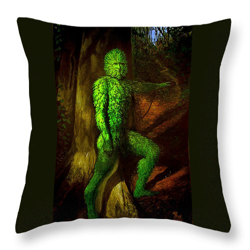 Myth Throw Pillow featuring the mixed media Greenman by Will Brown