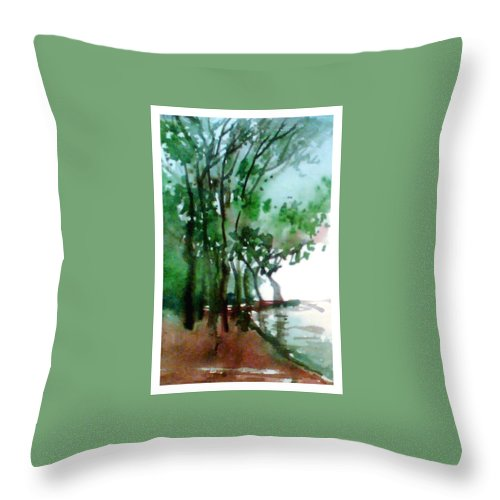 Water Color Throw Pillow featuring the painting Greens by Anil Nene
