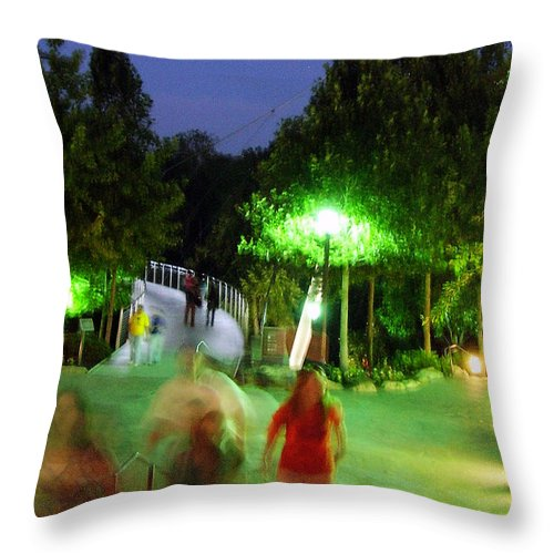 Falls Park Throw Pillow featuring the photograph Greenville At Night by Flavia Westerwelle