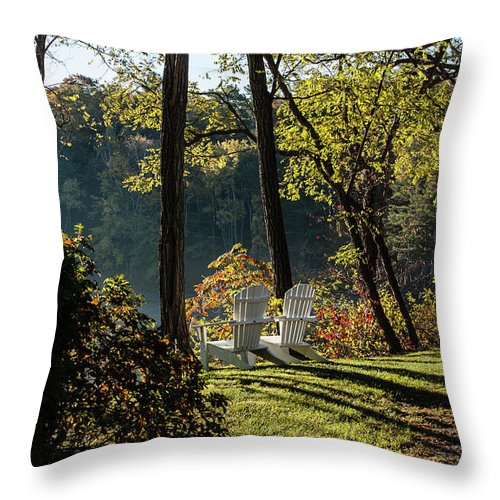 Adirondack Throw Pillow featuring the photograph Greet The Morning by Faith Harron Boudreau