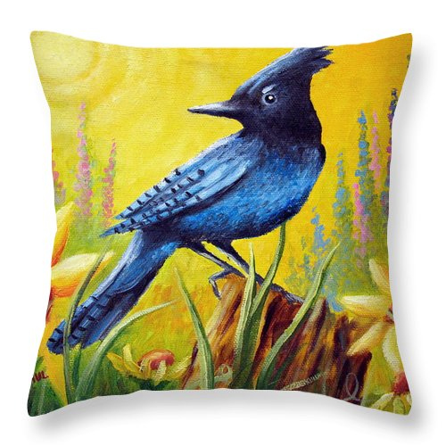 Bird Throw Pillow featuring the painting Greeting The Day by David G Paul