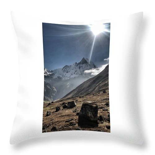 Sun Throw Pillow featuring the photograph Greeting To Mountain By Sun by Ryan Martin