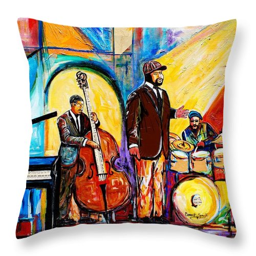 Everett Spruill Throw Pillow featuring the painting Gregory Porter and Band by Everett Spruill