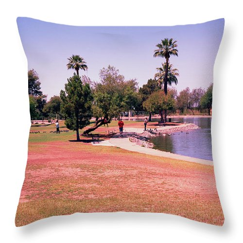 Grenada Park In Phoenix Az Attracts Ducks And Citizens To It Small Lake. Throw Pillow featuring the photograph Grenada2 by George Arthur Lareau