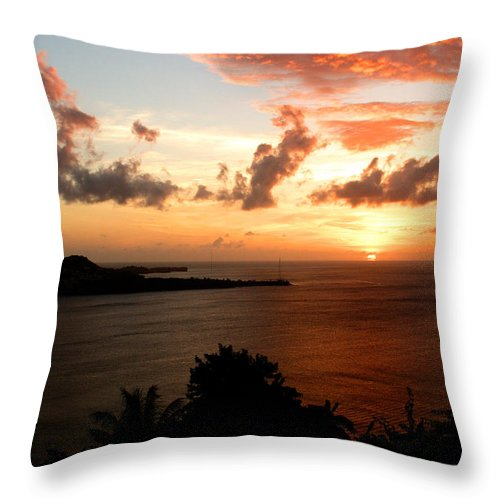 Sunset Throw Pillow featuring the photograph Grenadian Sunset II by Jean Macaluso