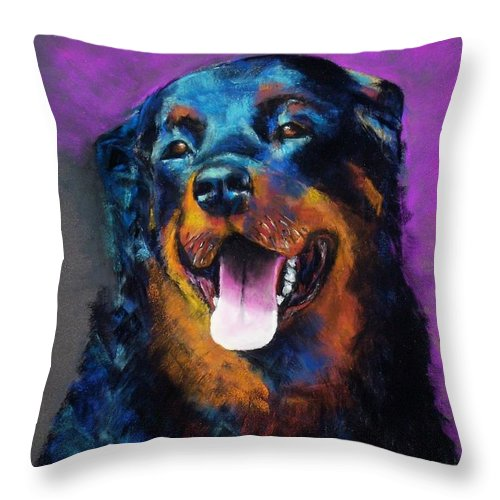 Rottweiler Throw Pillow featuring the painting Gretchen by Frances Marino
