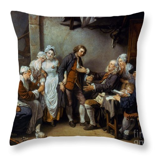 18th Century Throw Pillow featuring the photograph Greuze: The Village Bride by Granger