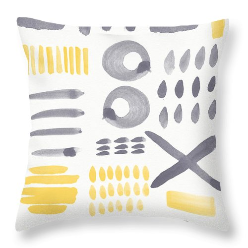 Grey And Yellow Throw Pillow featuring the painting Grey and Yellow Shapes- abstract painting by Linda Woods