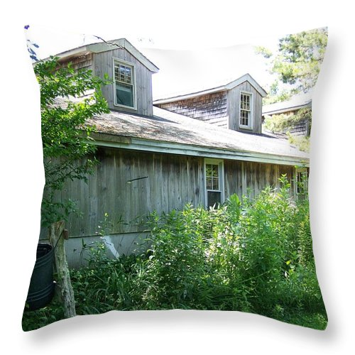 Scenic Throw Pillow featuring the photograph Grey Barn by Erin Rosenblum