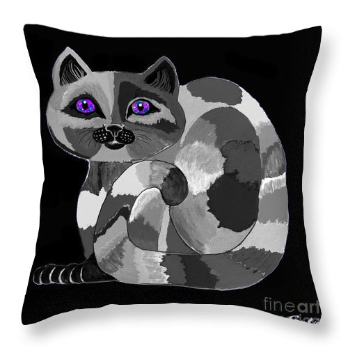 Cat Throw Pillow featuring the painting Grey Cat With Purple Eyes by Nick Gustafson