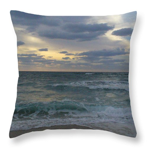 Seascape Throw Pillow featuring the photograph Grey Dawn by Peggy King