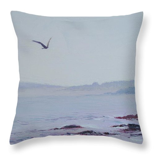 Seascape Throw Pillow featuring the painting Grey Day In Newport by Lea Novak