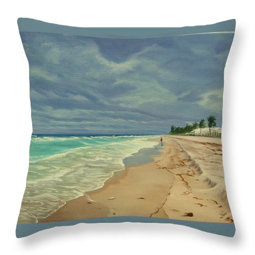 Beach Throw Pillow featuring the painting Grey Day on the Beach by Lea Novak