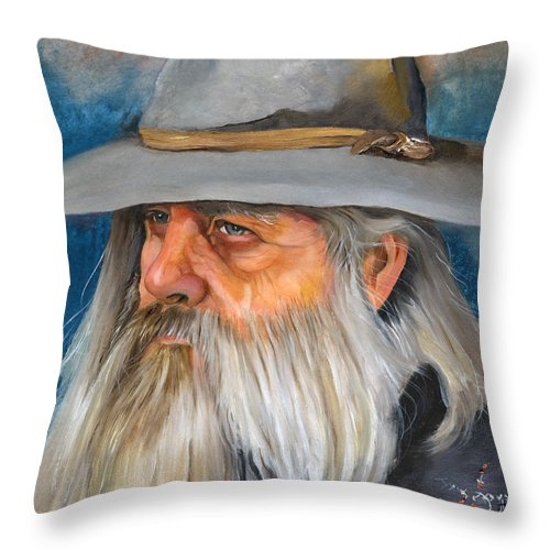 Wizard Throw Pillow featuring the painting Grey Days by J W Baker