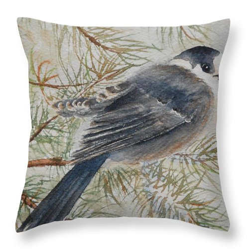 Bird Throw Pillow featuring the painting Grey Jay by Ruth Kamenev