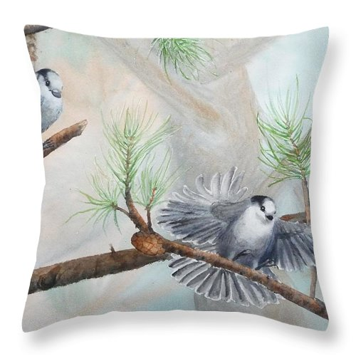 Grey Jay Throw Pillow featuring the painting Grey Jays In A Jack Pine by Ruth Kamenev