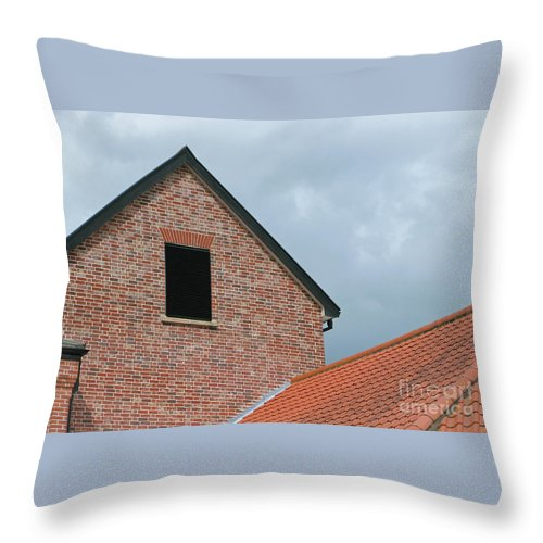 Brick Throw Pillow featuring the photograph Grey Skyline by Ann Horn