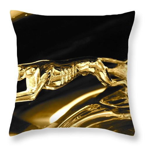 Greyhound Throw Pillow featuring the photograph Greyhound hoood ornament by Toni Berry
