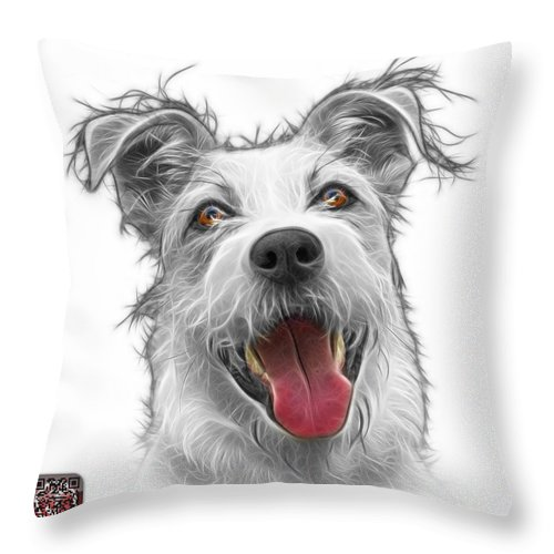 Terrier Throw Pillow featuring the painting Greyscale Terrier Mix 2989 - Wb by James Ahn