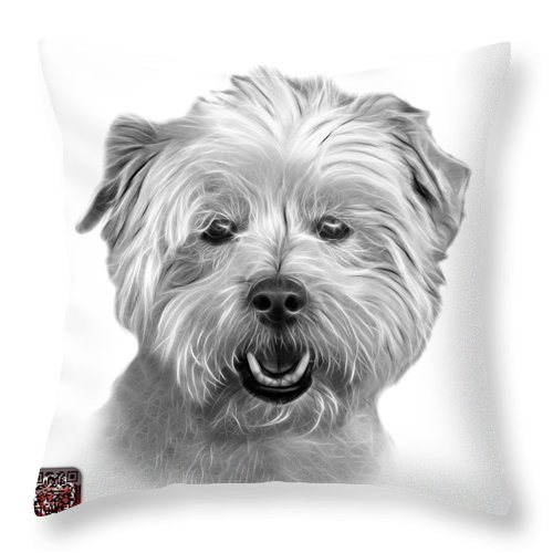 Westie Dog Throw Pillow featuring the mixed media Greyscale West Highland Terrier Mix - 8674 - Wb by James Ahn