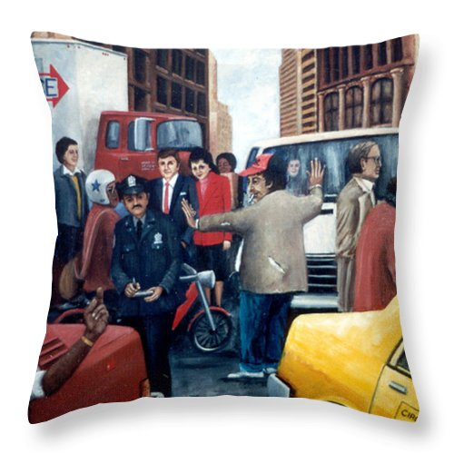 Nyc Landscape Throw Pillow featuring the painting Grid Lock Nyc by Leonardo Ruggieri