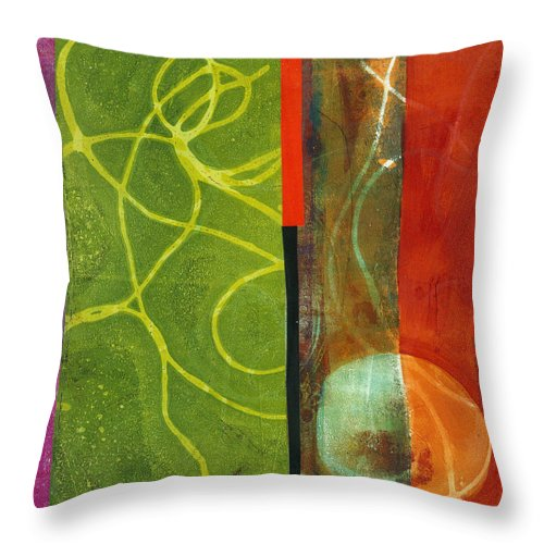 Acrylic And Collage Throw Pillow featuring the painting Grid Print 13 by Jane Davies