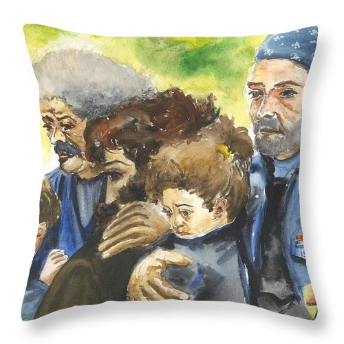 People Throw Pillow featuring the painting Grieving Veterans by Leonardo Ruggieri