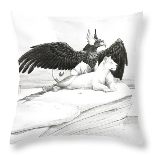 Griffin Throw Pillow featuring the painting Griffin And Lioness by Melissa A Benson