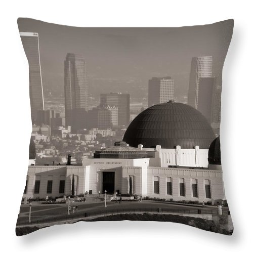 3scape Throw Pillow featuring the photograph Griffith Observatory by Adam Romanowicz