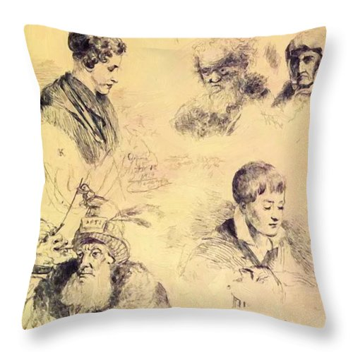 Griffonnage Throw Pillow featuring the painting Griffonnage 1814 by Kiprensky Orest