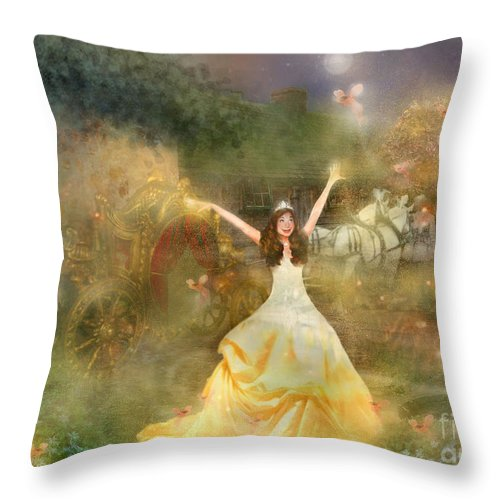 Cinderalla Throw Pillow featuring the painting Grimms Fairie Cinderella by Carrie Jackson