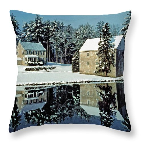 Grings Mill Recreation Area Throw Pillow featuring the photograph Grings Mill Snow 001 by Scott McAllister
