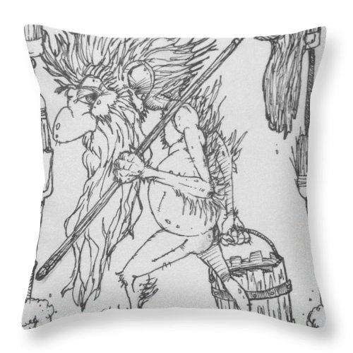 Fae Throw Pillow featuring the drawing Grogoch by Jason Strong