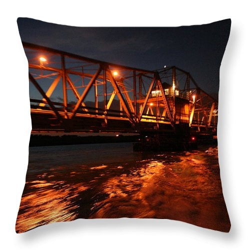 Grosse Ile Throw Pillow featuring the photograph Grosse Ile Bridge by Dawn Stone