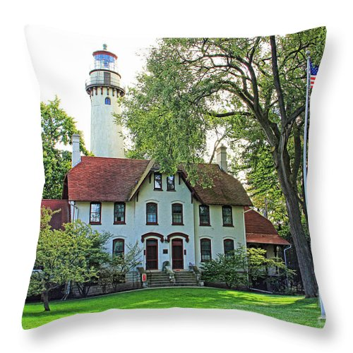 Lighthouse Throw Pillow featuring the photograph Grosse Point Light Station by Jack Schultz