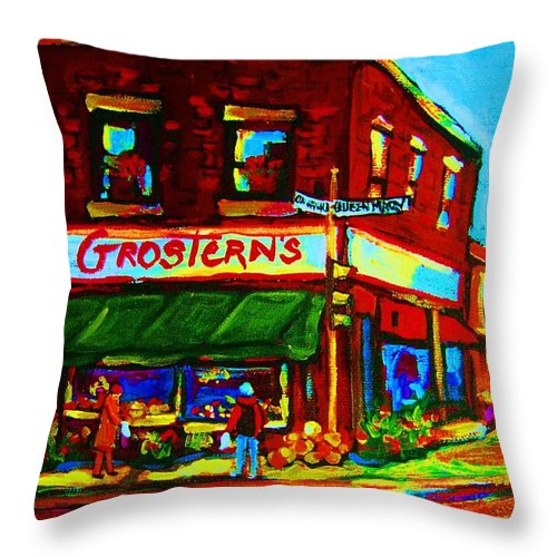 Grosterns Throw Pillow featuring the painting Grosterns Market by Carole Spandau