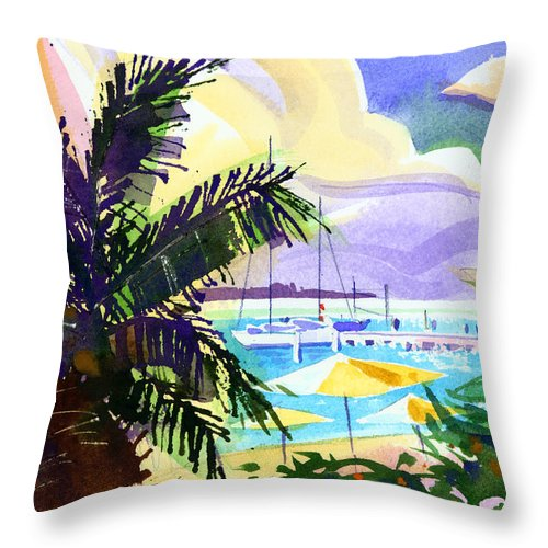 Bermuda Throw Pillow featuring the painting Grotto Bay by Lee Klingenberg