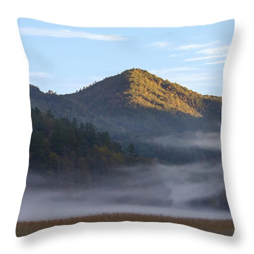 Mountains Throw Pillow featuring the photograph Ground Fog In Cataloochee Valley - October 12 2016 by D K Wall